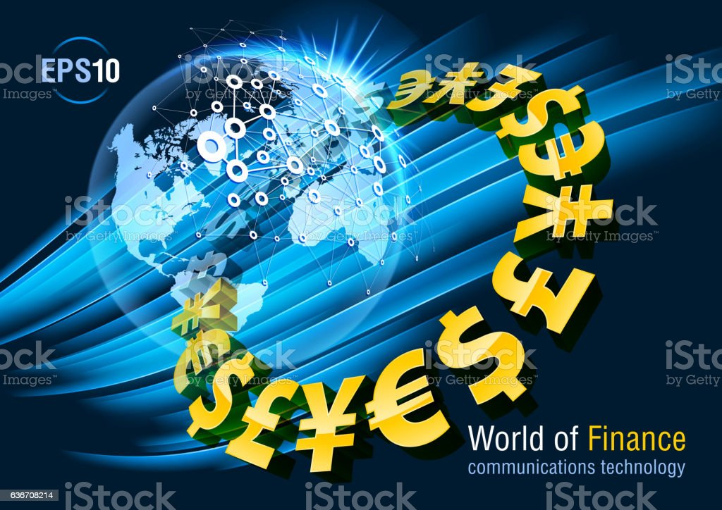 Dollar, euro, yen, pound, currency vector art illustration