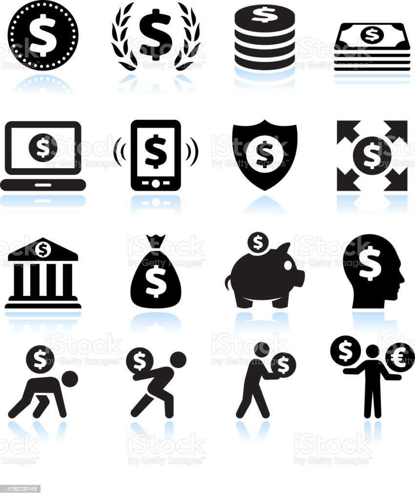 Dollar Finance and Money Black & White vector icon set vector art illustration