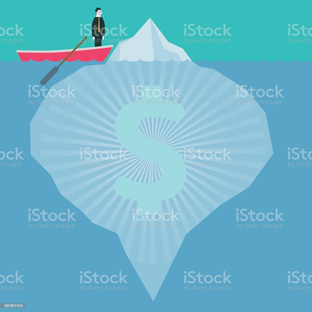 Dollar Iceberg vector art illustration