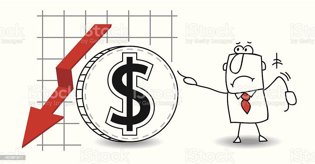 Dollar is growing down vector art illustration
