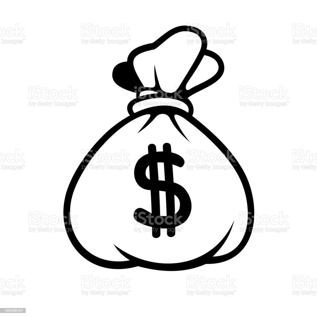 Dollar Money Icon with Bag. Vector. vector art illustration