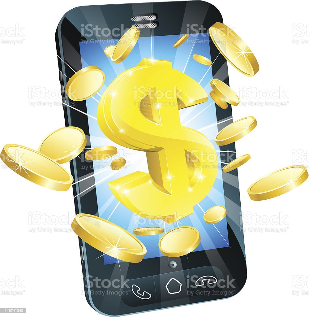 Dollar money phone concept stock photo
