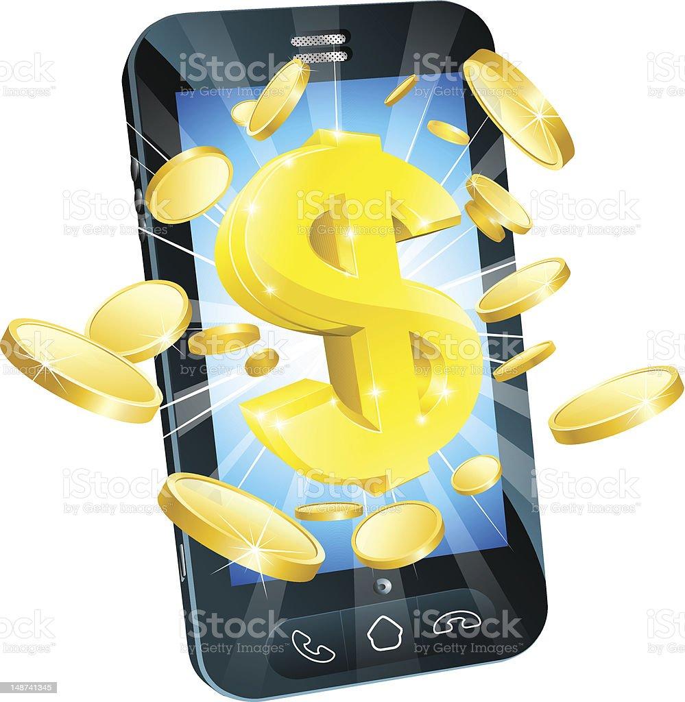 Dollar money phone concept vector art illustration