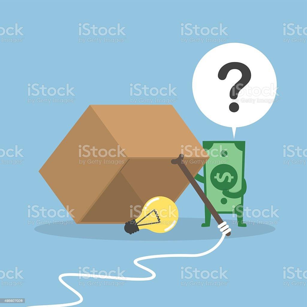 Dollar money wondering about box trap vector art illustration