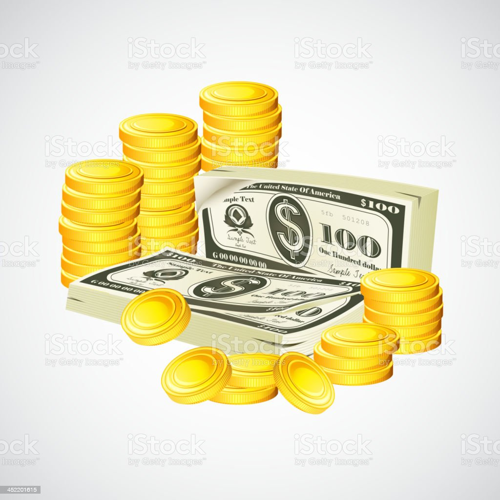 Dollar note and coin royalty-free stock vector art