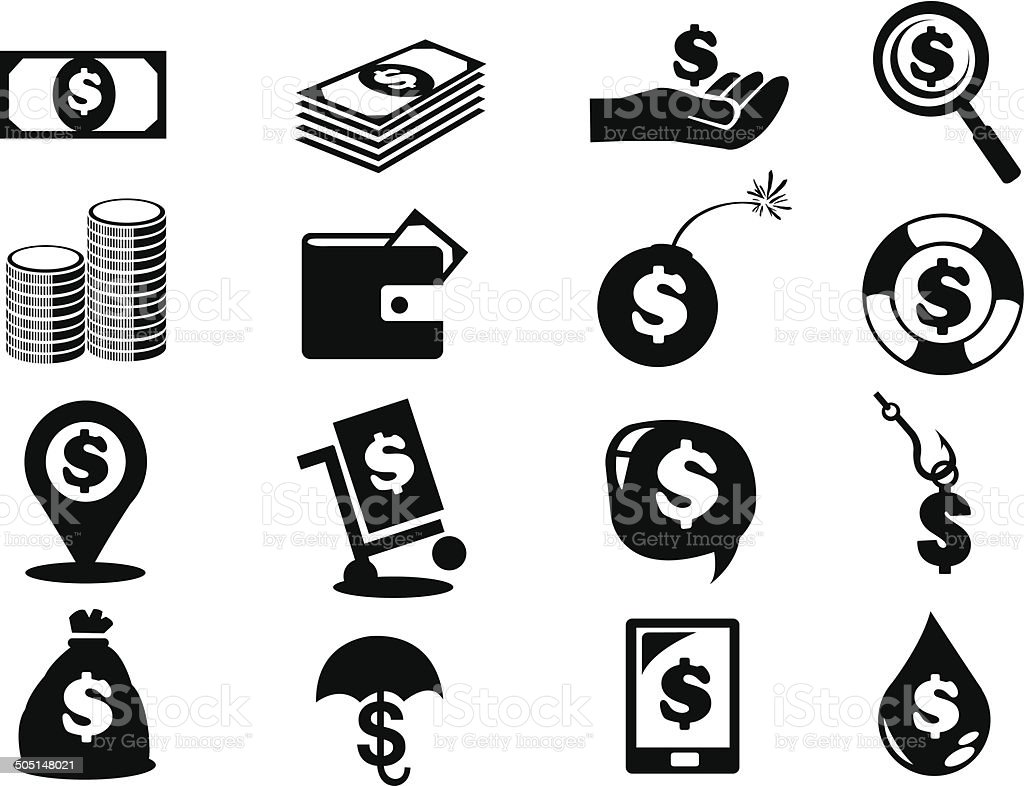 Dollar Notes and Coins Money Icon Set vector art illustration