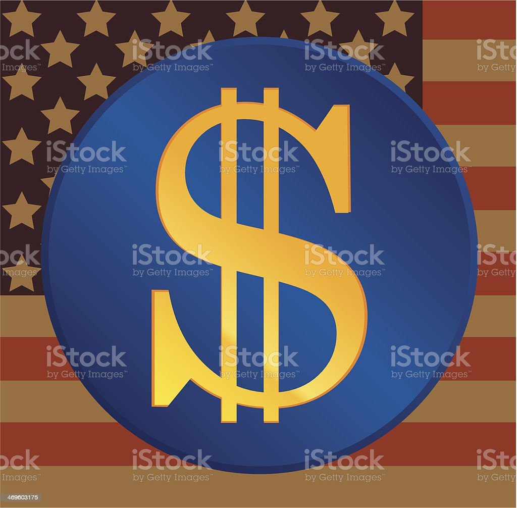 US dollar on a US flag background royalty-free stock vector art