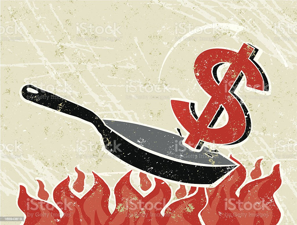 Dollar Out of a Frying Pan into The Fire royalty-free stock vector art