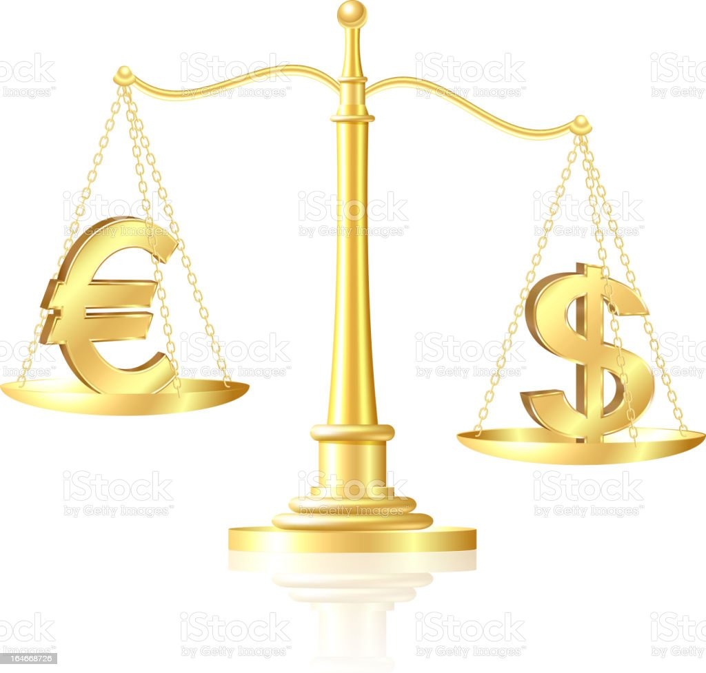 Dollar outweighs Euro on scales. royalty-free stock vector art