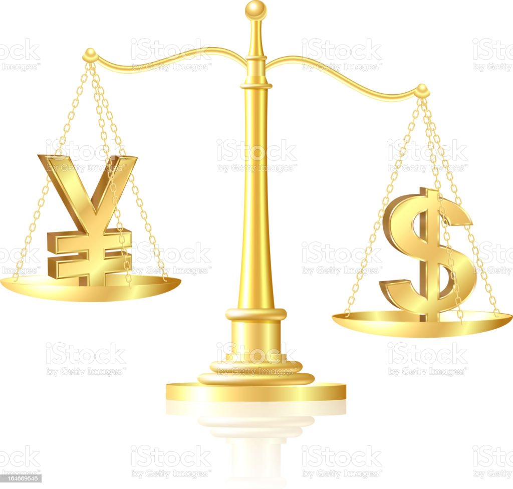 Dollar outweighs Yen on scales. royalty-free stock vector art