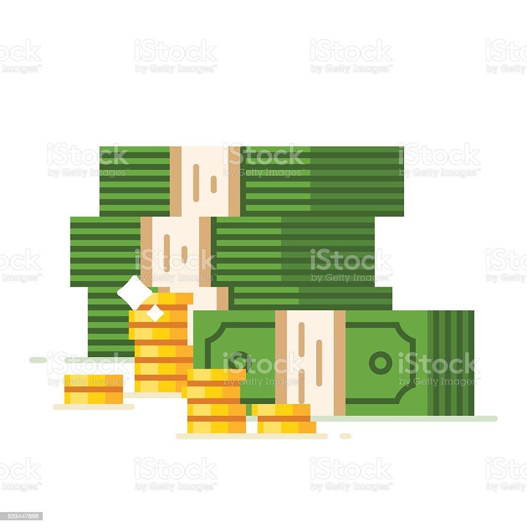 Dollar piles with gold dollar coins vector art illustration