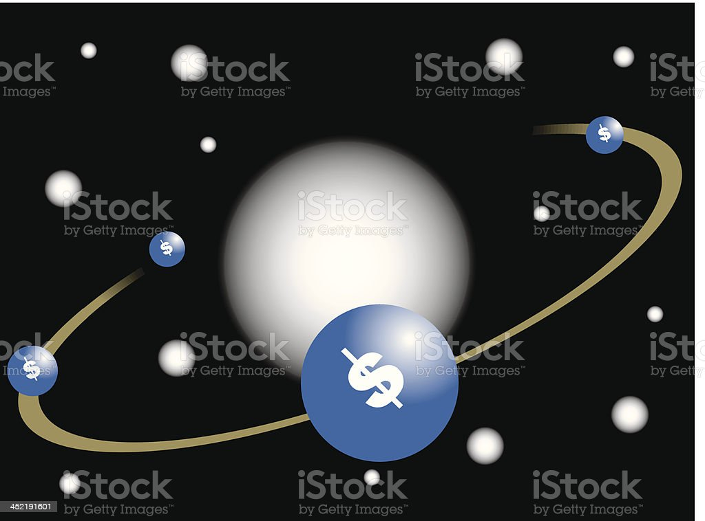 Dollar planet royalty-free stock vector art