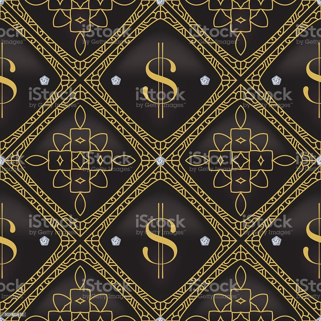 Dollar Quilted Seamless Vector Pattern vector art illustration