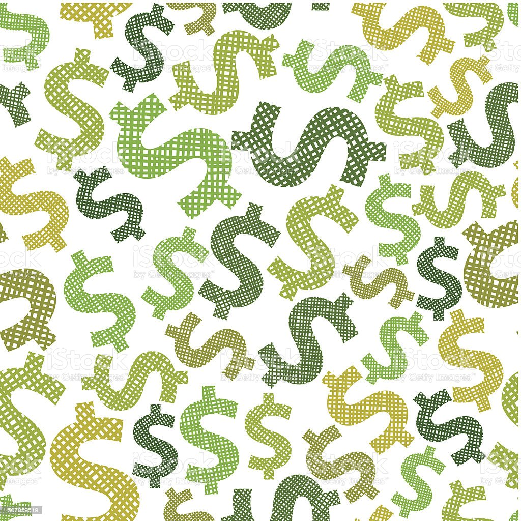 Dollar seamless pattern, economy and money theme vector vector art illustration