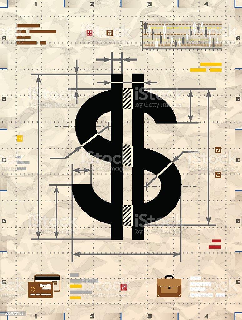 Dollar sign as technical blueprint drawing vector art illustration