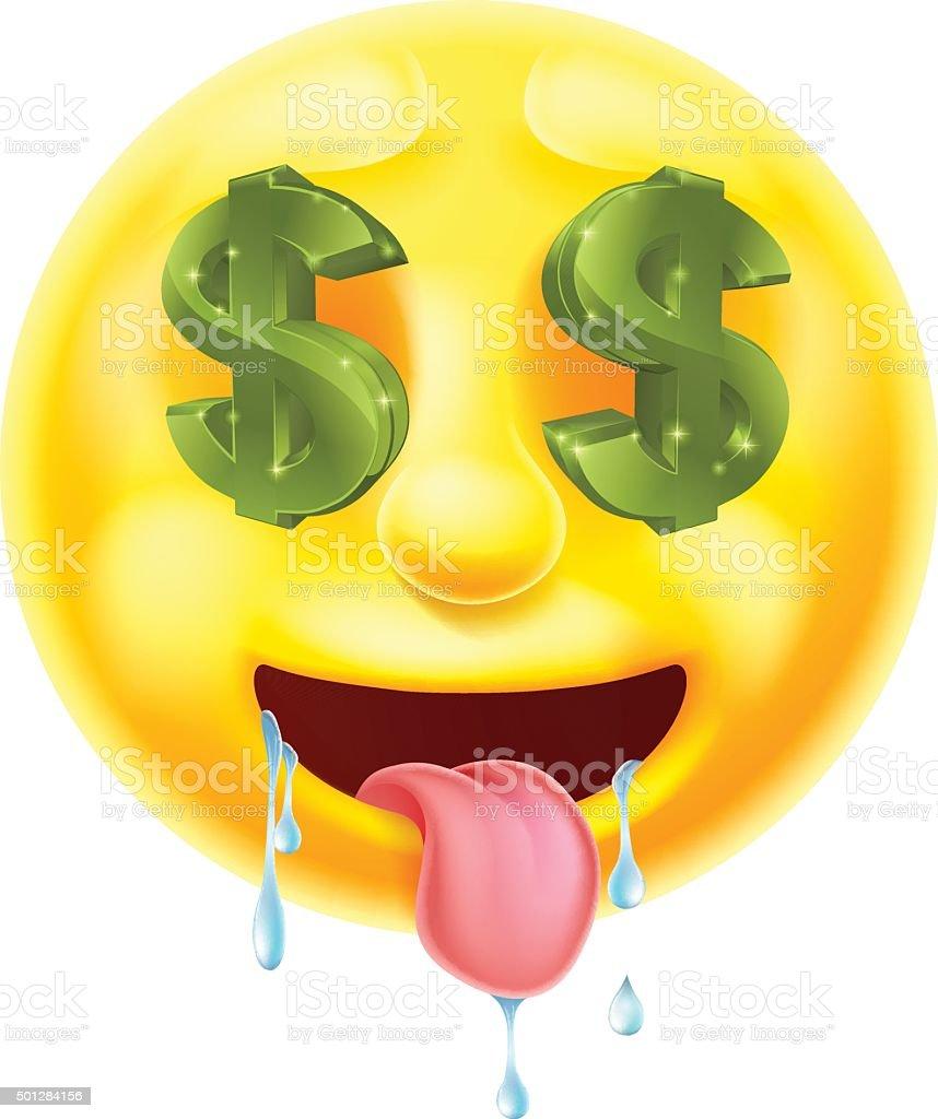 Dollar Sign Eyes Emoticon Emoji vector art illustration