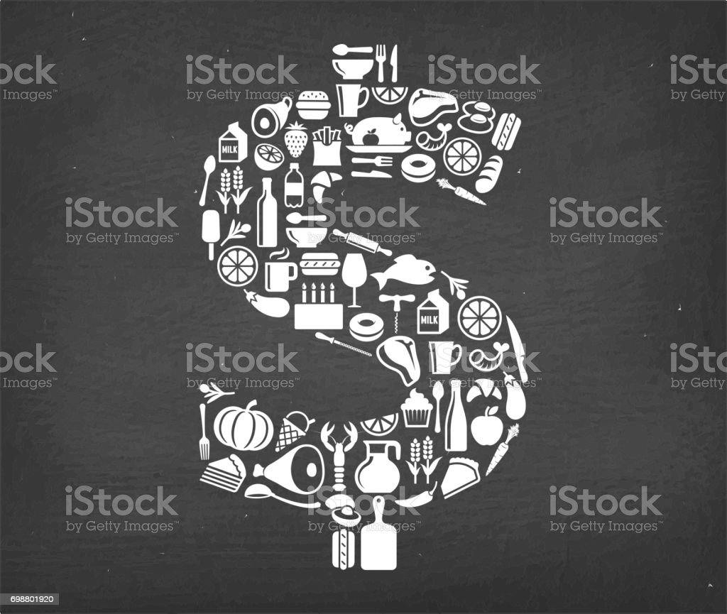 US Dollar sign Food & Drink royalty free vector pattern. This image...