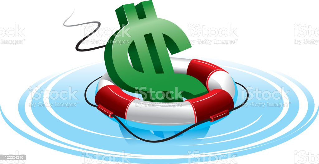 Dollar sign in the lifebuoy royalty-free stock vector art