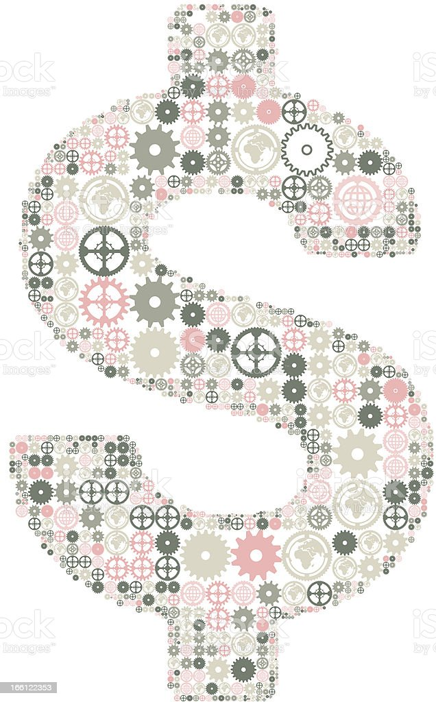 U.S. dollar sign made of colored gears. royalty-free stock vector art