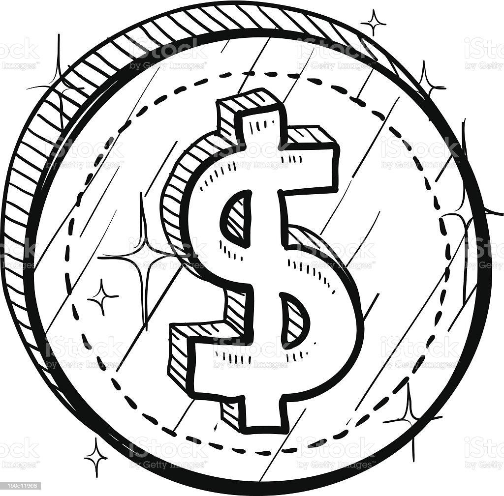 Dollar sign on coin sketch vector art illustration