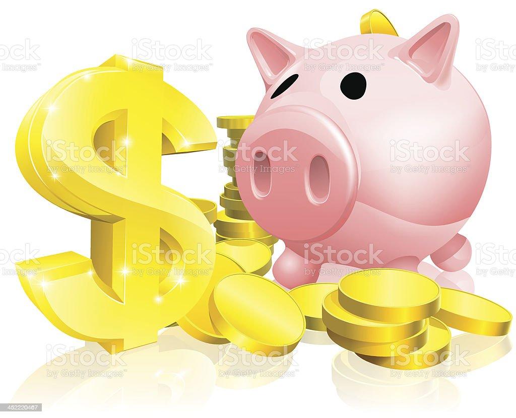 Dollar sign piggy bank royalty-free stock vector art