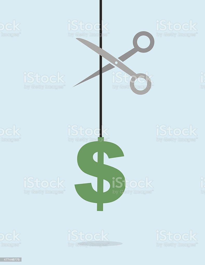 Dollar Sign String Scissors vector art illustration