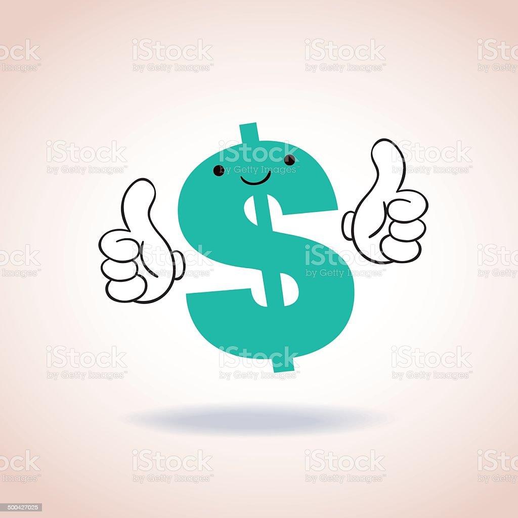 dollar sign thumbs up mascot cartoon character royalty-free stock vector art