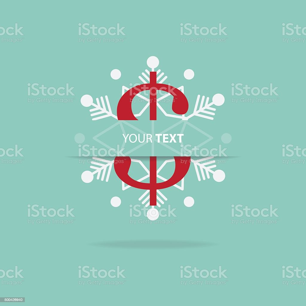 dollar sign with snowflake icon for christmas ornament stock