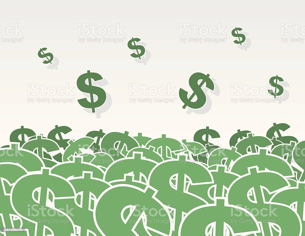 Dollar Signs Pile vector art illustration