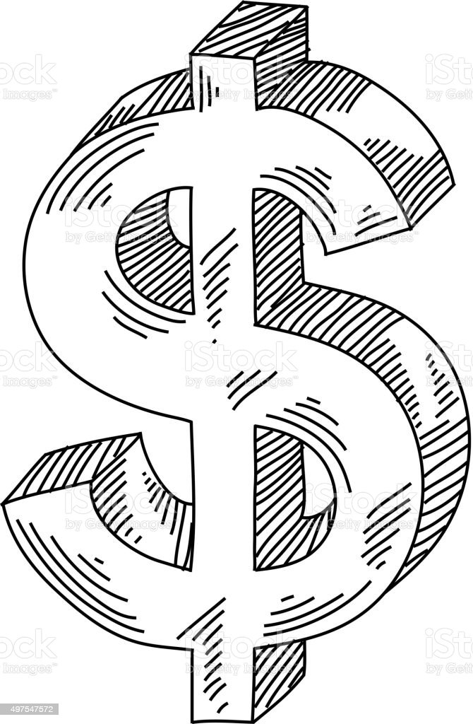 Dollar Sign/Symbol Drawing vector art illustration