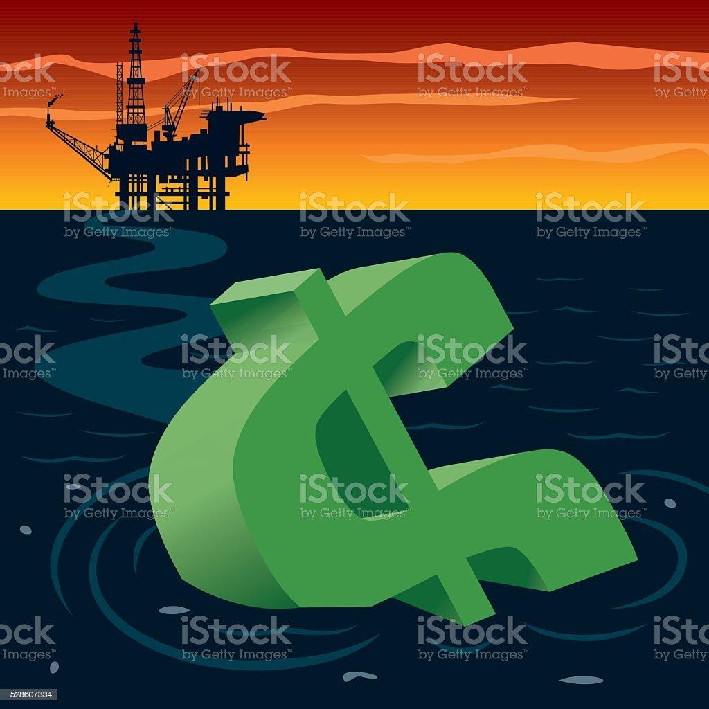 Dollar Sinking in Oil vector art illustration