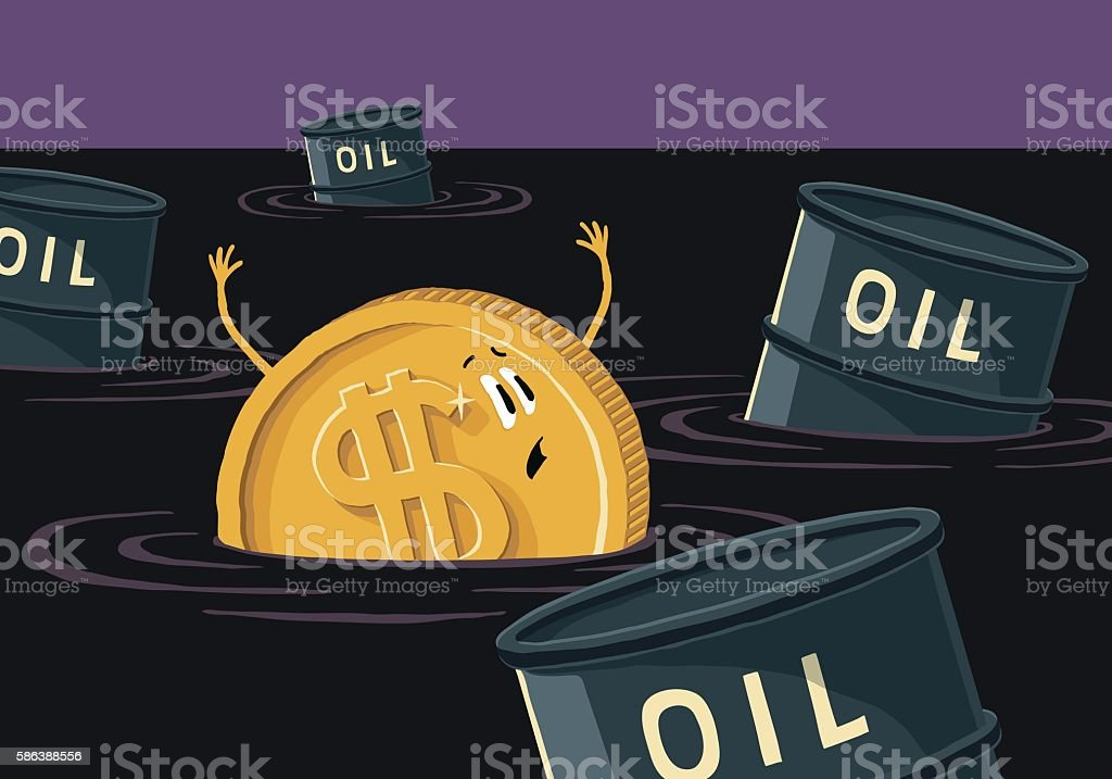 Dollar sinks in petroleum. vector art illustration