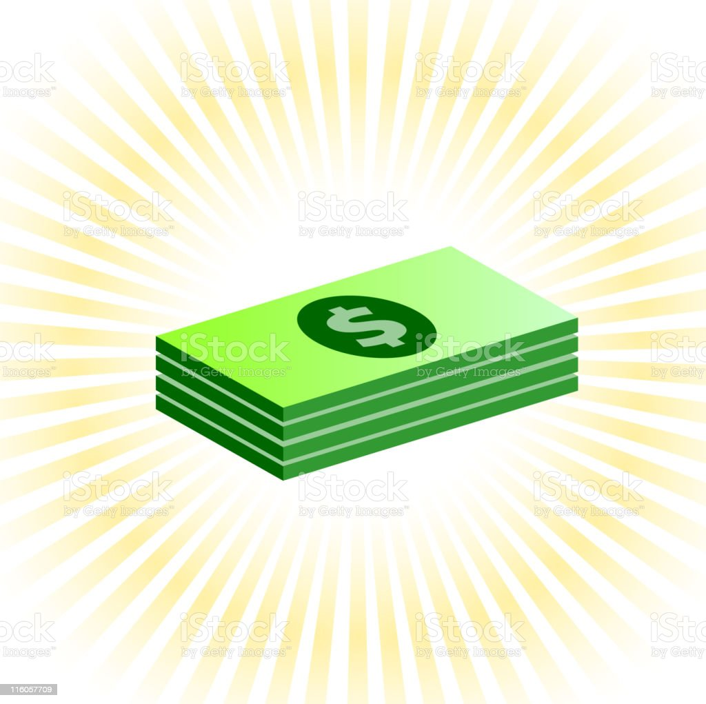 Dollar stack on royalty free vector Background with glow effect vector art illustration