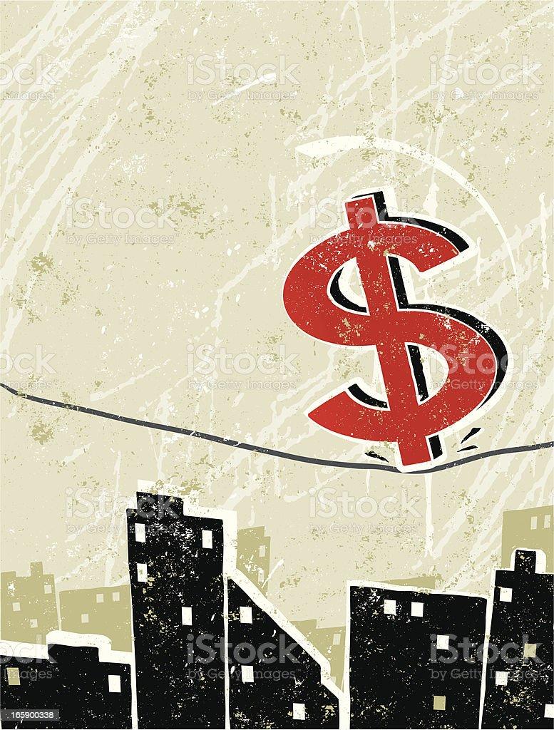 Dollar Symbol Balanced on a tightrope vector art illustration