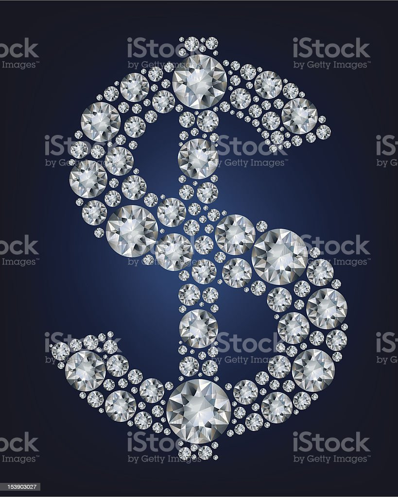 Dollar symbol in diamonds. royalty-free stock vector art