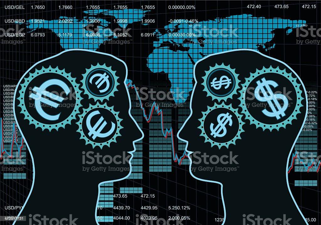 Dollar vs Euro Exchange Rate royalty-free stock vector art