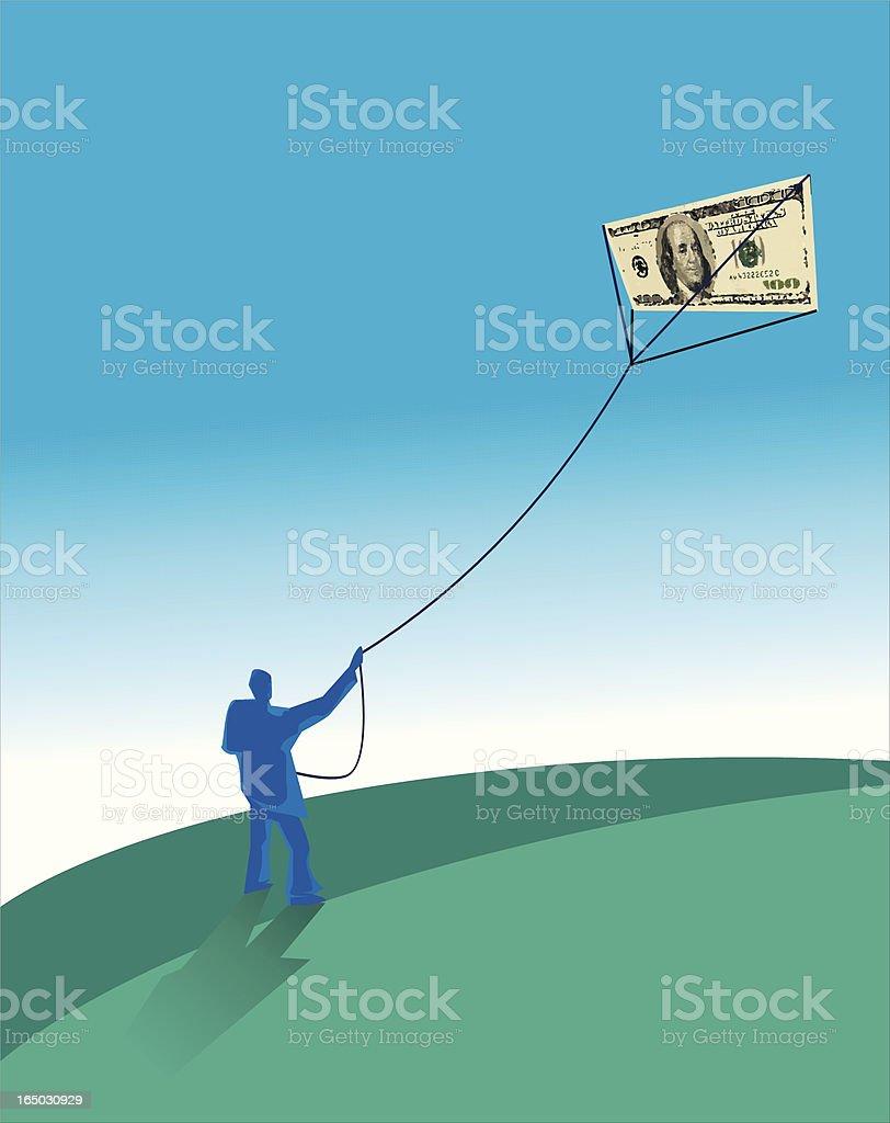 Dollars Flying - Money earn Bluemen series vector art illustration