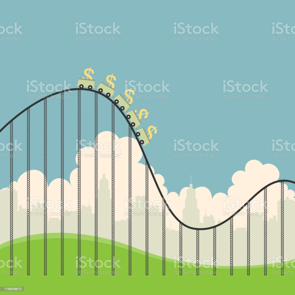 Dollars on Roller Coaster vector art illustration