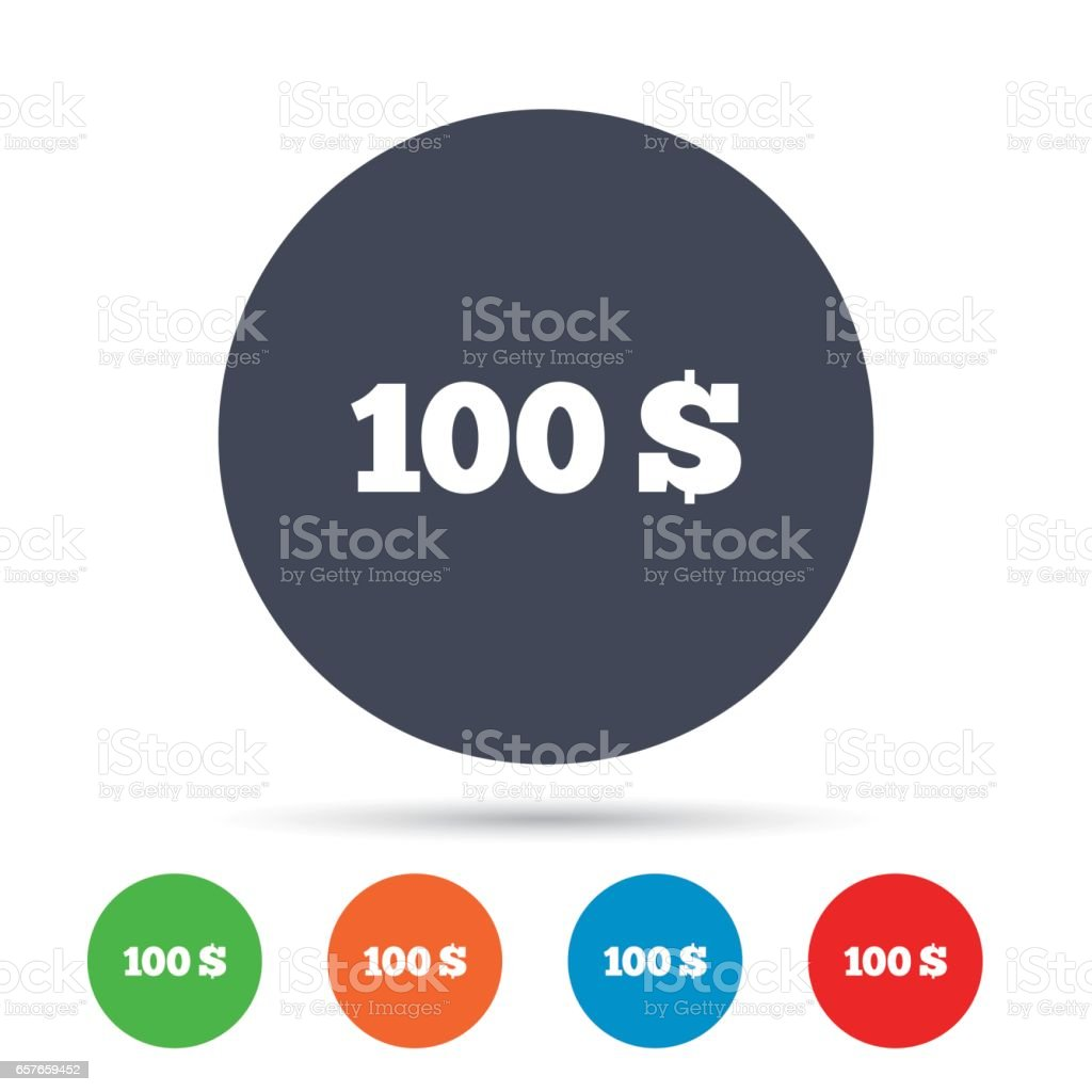 100 Dollars sign icon. USD currency symbol. vector art illustration