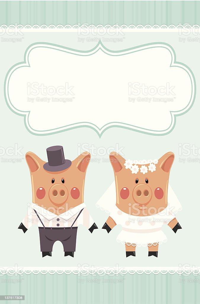 Dolls piggies newlyweds. royalty-free stock vector art