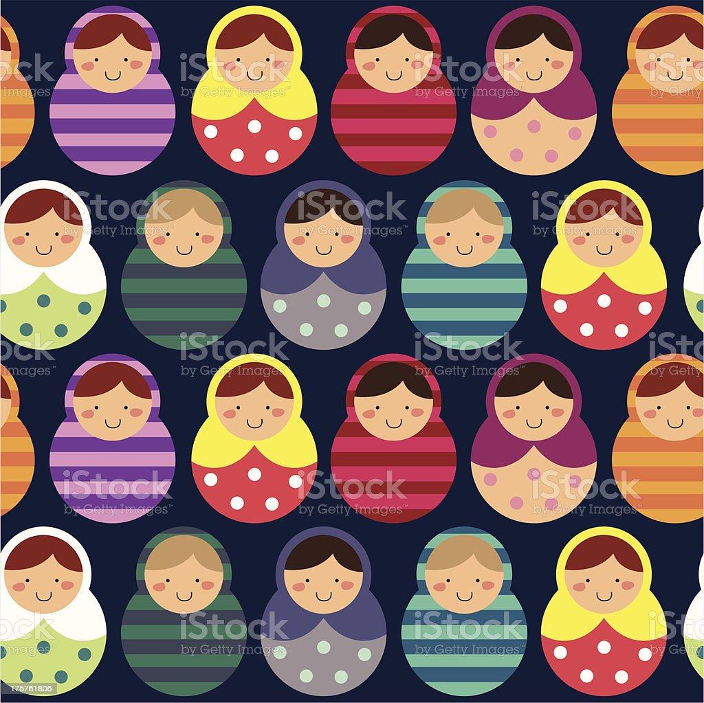 Dolls seamless pattern royalty-free stock vector art