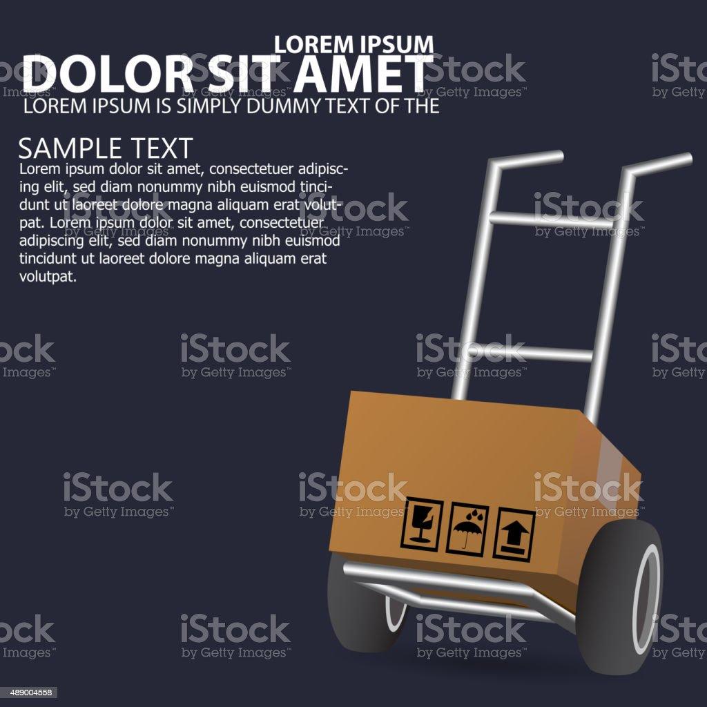 Dolly, wheelbarrow for transportation vector art illustration
