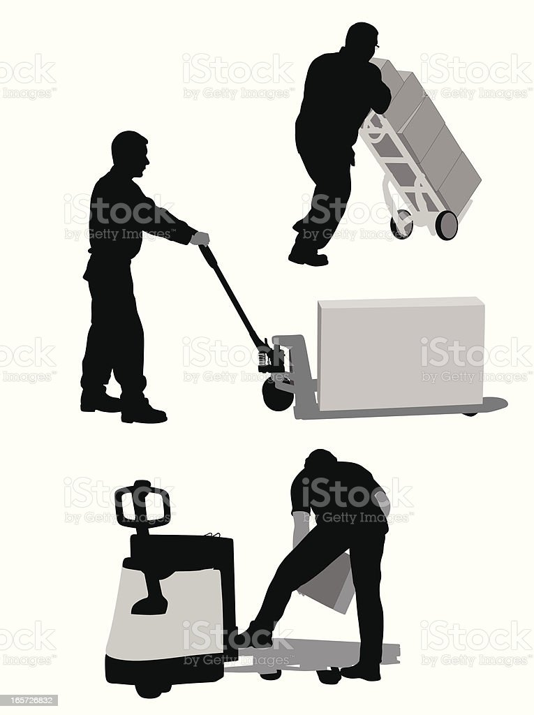 Dolly Worker Vector Silhouette royalty-free stock vector art