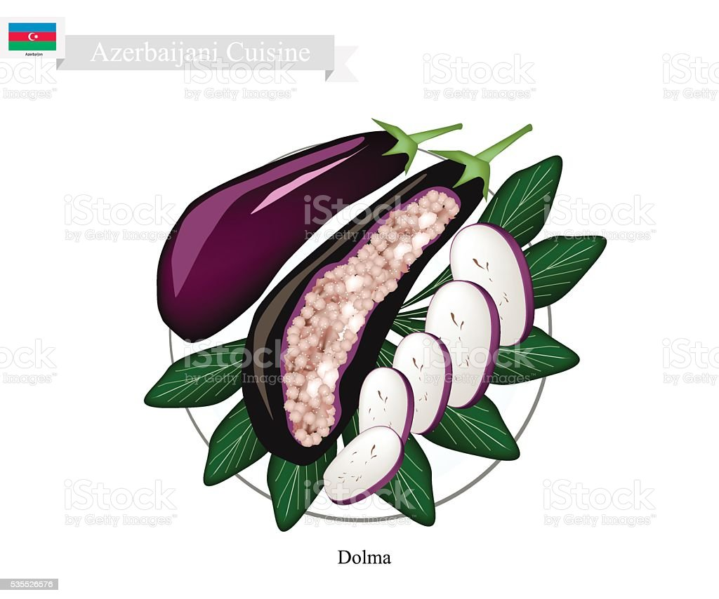 Dolma or Azerbaijani Stuffed Meat in Eggplants vector art illustration