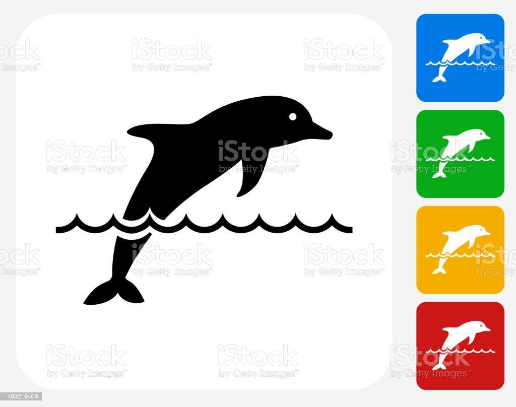 Dolphin Icon Flat Graphic Design vector art illustration