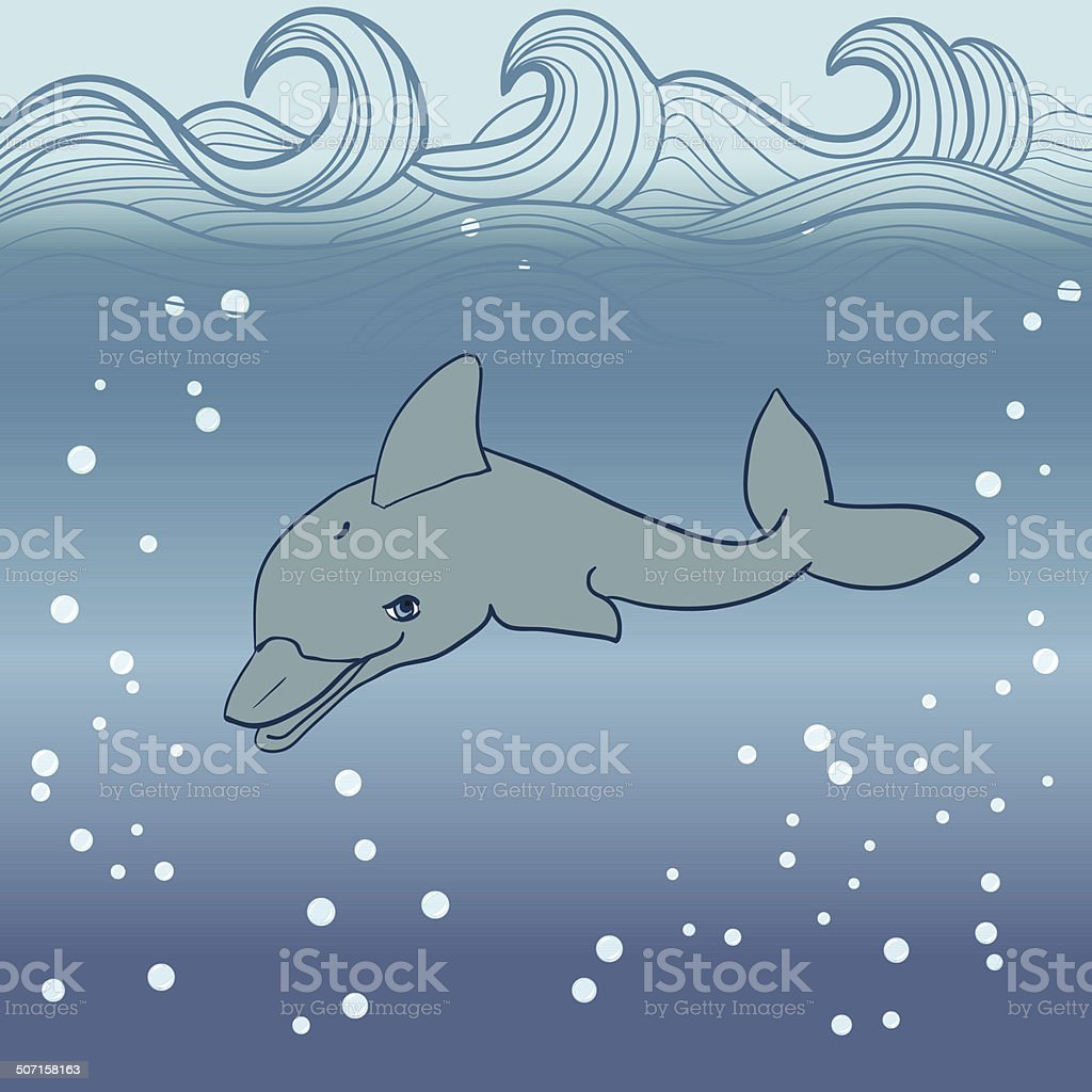 dolphin under water royalty-free stock vector art