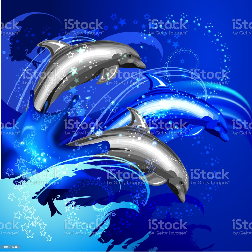 Dolphins and Sea royalty-free stock vector art