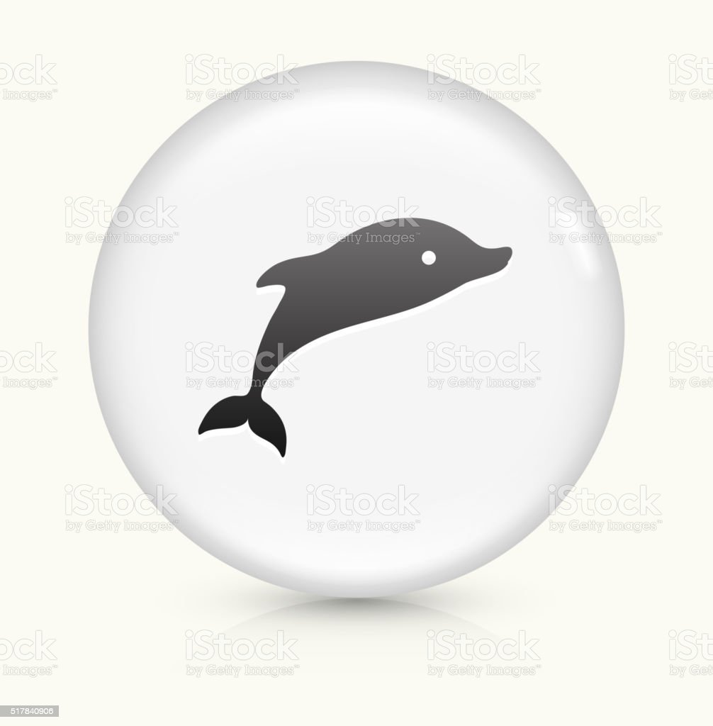 Dolphins icon on white round vector button vector art illustration