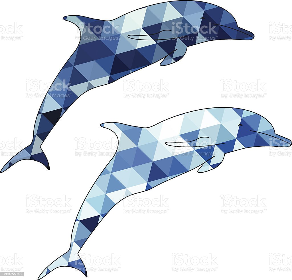 Dolphins silhouette isolated on white background vector art illustration
