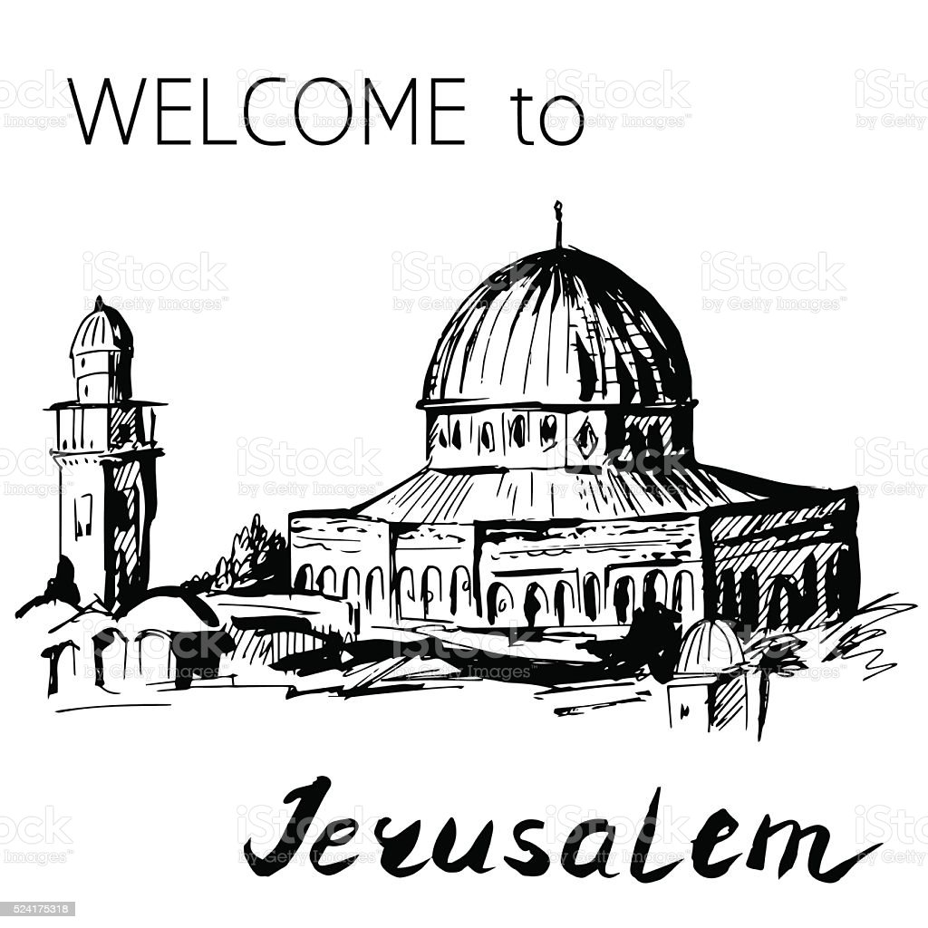 Dome of Rock Temple Mount Jerusalem vector art illustration